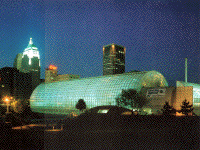 night view of Crystal Bridge, Oklahoma City, by James S. Rossant, Conklin + Rossant