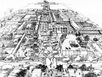 part of a sketch of central Dodoma, Tanzania, by James S. Rossant, Conklin + Rossant