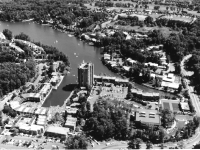 part of an aerial view of Lake Ann Village, Reston by James Rossant, Conklin + Rossant